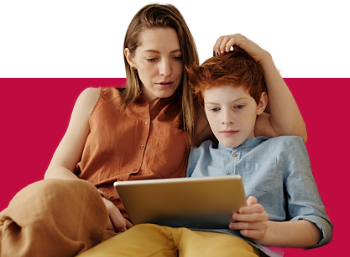 Mother and son with tablet computer